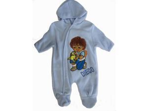 Nickelodeon Baby Boys Sky Blue Diego Applique Zipper Footed Onesie 18M