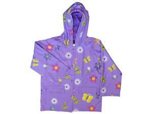 Foxfire Little Girls Purple Floral Butterfly Print Hooded Raincoat 3T