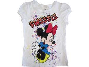 "Disney Little Girls White Minnie Mouse ""Sweetie"" Short Sleeve Shirt Top 4"
