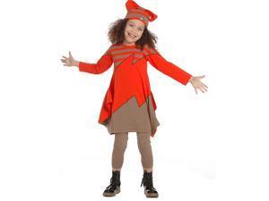 KidCuteTure Big Girls Geranium Red Stripe Iris Designer Fall Dress 14