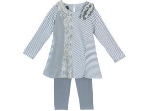 Isobella & Chloe Little Girls Grey Lace Detail Kylie Two Piece Pant Set 3T