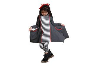 KidCuteTure Little Girls Charcoal Striped Sabrina Trendy Fall Outfit Set 6