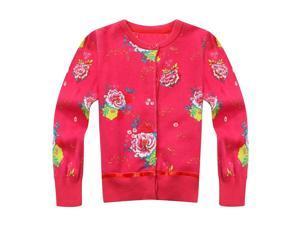 Richie House Little Girls Red Allover Flower Print Cardigan 2