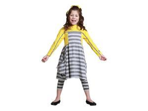 KidCuteTure Little Girls Honey Yellow Striped Cynthia Tunic Fall Outit Set 6