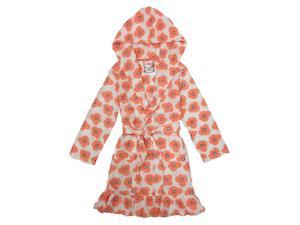 Kings n Queens Big Girls Coral Floral Ruffled Knit Terry Hooded Bathrobe 12