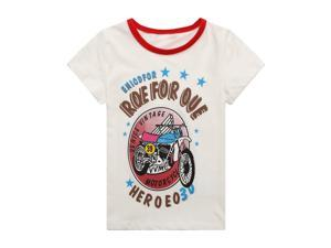 Richie House Little Boys White Venice Vintage Motorcycle Printed Tee 3/4