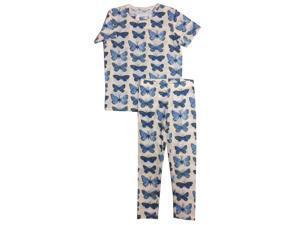 Kings n Queens Big Girls Multi Color Butterfly Print 2 Pc Pajama Set 14