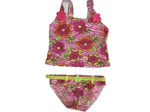 2B Real Little Girls Pink White Floral Print 2Pc Tankini Swimsuit 5-6