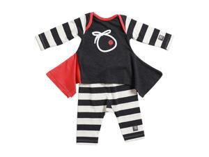 KidCuteTure Baby Girls Charcoal Stripe Lizzi Tunic Leggings Outfit Set 6M