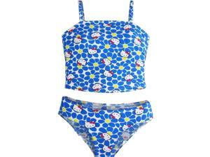 Hello Kitty Little Girls Blue White Flowers Two Piece Tankini Swimsuit 5-6