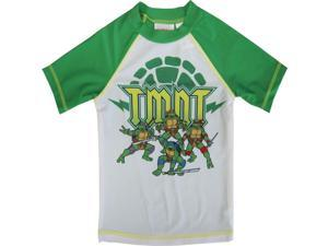 Nickelodeon Little Boys Green White TMNT Print Rash Guard Swimwear Shirt 4T