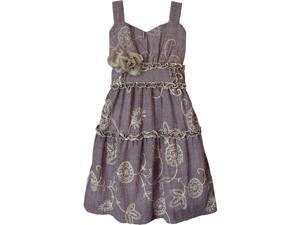 Isobella & Chloe Big Girls Purple Morning Glory Empire Waist Party Dress 7