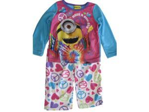 Universal Big Girls Blue Minions Stuart Peace Sign Print 2 Pc Pajama Set 10
