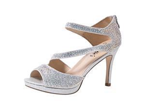 Sweetie's Shoes Silver Special Occasion Ekta Platform Sandals 8 Womens