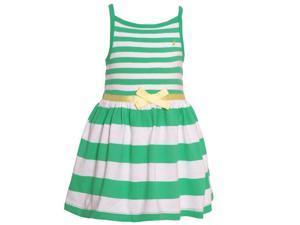 Nautica Baby Girls Green Striped Pattern Tie Accent Camisole Dress 12M