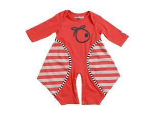 KidCuteTure Baby Girls Poppy Red Stripe Kiki Long Sleeve Funky Fall Romper 3M