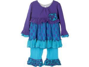 Isobella & Chloe Little Girls Turquoise Flower Berry Blue 2 Pc Pant Set 2T