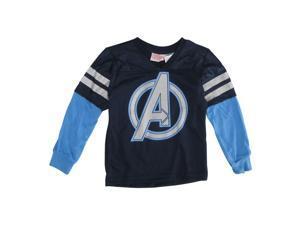 Marvels Little Boys Navy Captain America Stripe Sleeve V-Neck Shirt 7