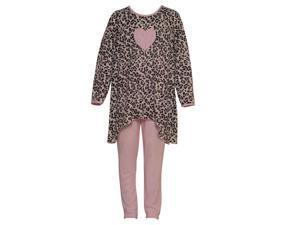 Laura Dare Big Girls Black Pink Leopard Pattern Heart Detail Pajama Set 8