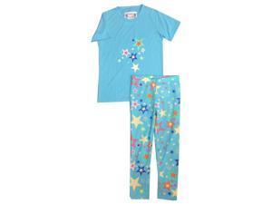 Kings n Queens Big Girls Blue Crazy Stars Print Tee 2 Pc Pajama Set 14