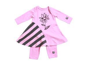 KidCuteTure Baby Girls Rose Pink Flower Zoe Dress Leggings Outfit Set 6M