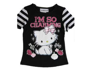 Hello Kitty Big Girls Black White I'm So Charming Print Stripe T-Shirt 14-16