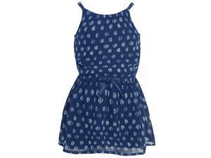 Nautica Little Girls Navy Stripe Polka Dotted Pattern Tie Accent Dress 2T