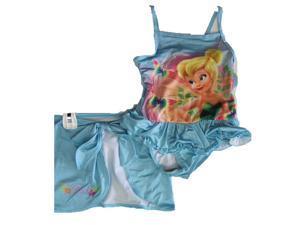 Disney Little Girls Sky Blue Tinker Bell Print Skirt 2 Pc Swimsuit 4T