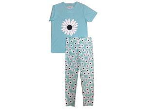 Kings n Queens Big Girls Turquoise Daisy Print Tee 2 Pc Legging Set 14