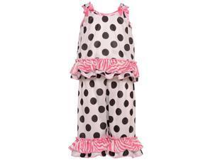 Laura Dare Little Girls Black White Dot Zebra Ruffle 2 Pc Pajama Set 5