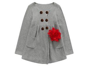Richie House Big Girls Grey Flower Adorned Cardigan-Sweater 10