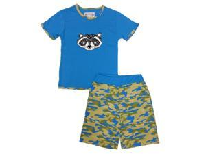 Kings n Queens Big Boys Blue Camo Raccoon Print Tee 2 Pc Shorts Set 12
