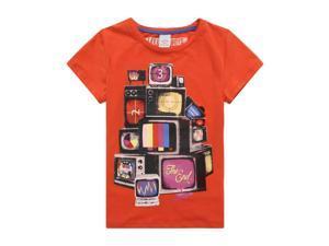 Richie House Little Boys Orange Countdown TV Printed Tee 2/3