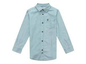 Richie House Little Boys Blue Denim Cotton R Embroidery Blouse 4/5