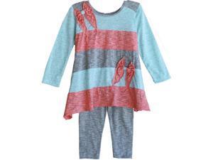Isobella & Chloe Little Girls Cyan Stripe Autumn Breeze Leggings Outfit 2T