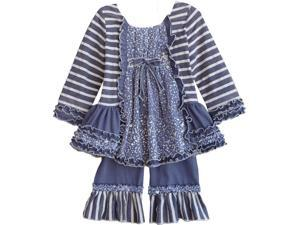 Isobella & Chloe Little Girls Navy Stripe Dots Snow Fairy Pants Outfit 2T