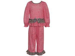Laura Dare Little Girls Pink Leopard Print Zebra Ruffle 2 Pc Pajama Set 2T
