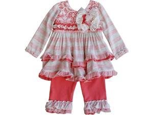Isobella & Chloe Little Girls Grey Mesh Floral Ruffle Cora Pants Outfit 4T