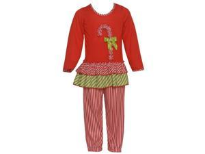 Laura Dare Little Girls Red Green Candy Cane Applique 2 Pc Pajama Set 2T