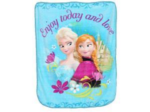 Girls Blue Enjoy Today and Love Elsa Anna Frozen Disney Blanket