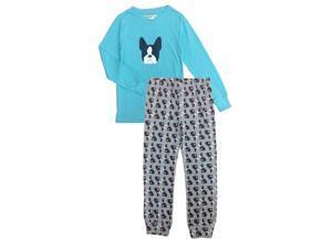 Turquoise Terrier Printed Long Sleeve Top Pants Girls Pajama Set 4-6