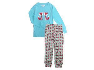 Turquoise Fox Friends Printed Long Sleeve Top Pants Girls Pajama Set 14-16