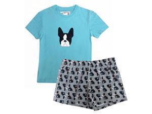 Turquoise Terrier Printed T-shirt Shorts Girls Pajama Set 8-10