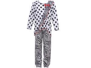 Laura Dare Big Girls Black White Dot Zebra Stripe Ruffle 2 Pc Pajama Set 10