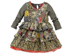 CakeWalk Baby Girls Tan Sisi Long Sleeve Dress 9M