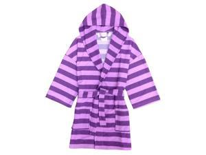 Purple Lilac Rugby Striped Hooded Terry Robe Girls 12