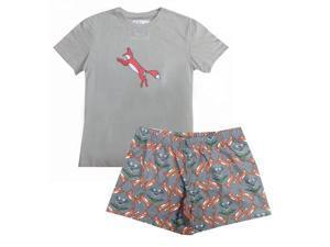 Gray Fox Printed T-shirt Shorts Girls Pajama Set 12