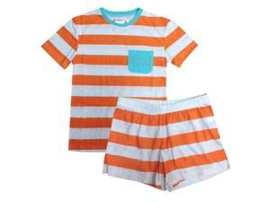 Orange White Rugby Striped T-shirt Shorts Girls Pajama Set 14-16