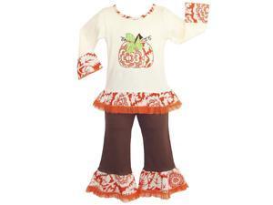 AnnLoren Big Girls Boutique Autumn Pumpkin Patch Shirt Pants Outfit 7-8