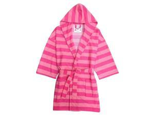 Fuchsia Pink Rugby Striped Hooded Terry Robe Girls 8-10